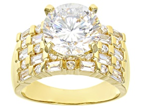 White Cubic Zirconia 18k Yellow Gold Over Sterling Silver Ring 8.48ctw