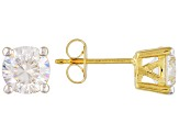 White Cubic Zirconia 6.5mm Round 18k Gold Over Silver Solitaire Stud Earrings