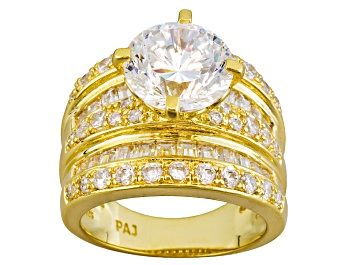 Picture of White Cubic Zirconia Dillenium Cut  18k Yellow Gold Over  Sterling Silver Ring 9.39ctw