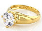 White Cubic Zirconia 18k Yellow Gold Over Sterling Silver Ring 4.59ct