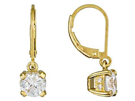 White Cubic Zirconia 18k Yellow Gold Over Sterling Silver Dangle Earrings 3.52ctw