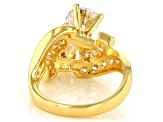 White Cubic Zirconia 18K Yellow Gold Over Sterling Silver Ring 5.55ctw