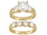 White Cubic Zirconia 18k Yellow Gold over Sterling Silver Bridal Ring 3.15ctw