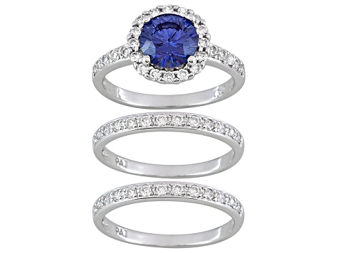 Blue And White Cubic Zirconia Rhodium Over  Sterling Silver Ring 2 Bands 3.17ctw