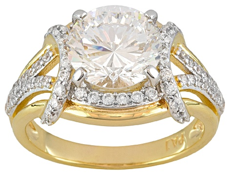 Dillenium Cut Cubic Zirconia 18kt Yellow Gold Over Sterling Silver Ring 5.40ct