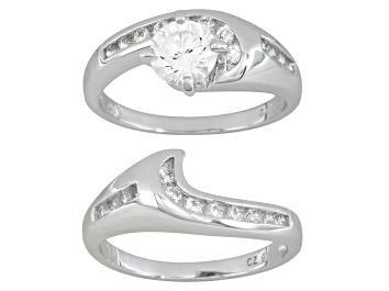Picture of Cubic Zirconia Dillenium Cut Rhodium Over Sterling Silver Ring With Band 2.27ctw
