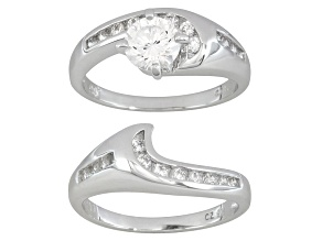 Womens Solitaire Ring And Wrap Cubic Zirconia 2.27ctw Sterling Silver