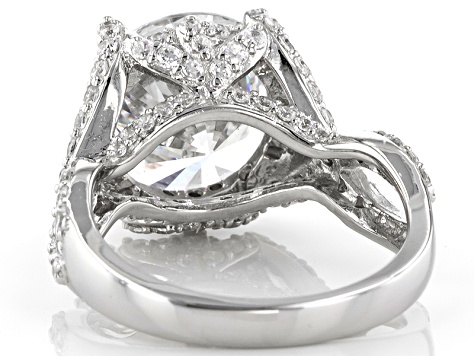 Cubic Zirconia Rhodium Over Sterling Silver Ring 12.80ctw