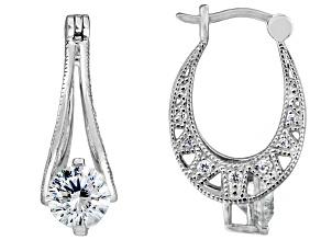 White Cubic Zirconia Sterling Silver Dillenium Cut Earrings 3.80ctw