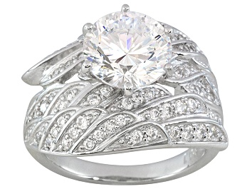 Picture of White Cubic Zirconia Dillenium Cut Rhodium Over Sterling Silver Angel Wing Ring 5.92ctw