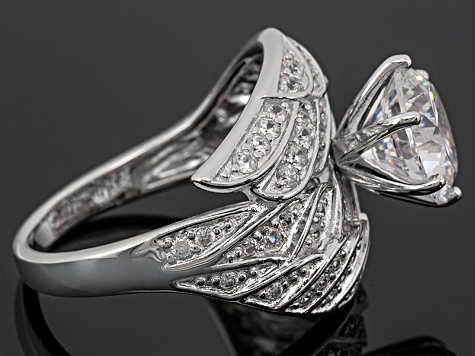 White Cubic Zirconia Dillenium Cut Rhodium Over Sterling Silver Angel Wing Ring 5.92ctw