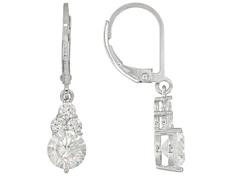 White Cubic Zirconia Dillenium Cut Rhodium Over Sterling Silver Dangle Earrings 3.82ctw