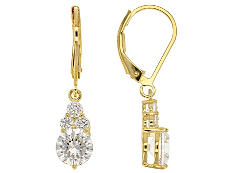 Cubic Zirconia 18k Yellow Gold Over Sterling Silver Earrings 3.80ctw