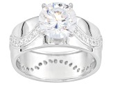 Bella Luce ® 3.93ctw Dillenium ™ Round, Rhodium Over Sterling Silver Ring