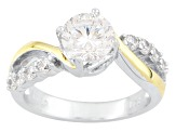 Cubic Zirconia Silver And 18k White Gold Over Silver Ring With Guard 2.93ctw