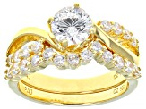Cubic Zirconia 18k Yellow Gold Over Silver Ring With Band 2.93ctw