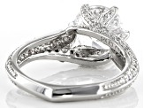 Cubic Zirconia Rhodium Over Sterling Silver Ring 5.53ctw