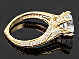 Cubic Zirconia 18k Yellow Gold Over Silver Ring 5.53ctw