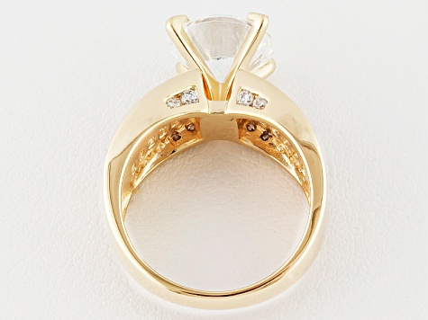 Cubic Zirconia 18k Yellow Gold Over Silver Ring 8.51ctw