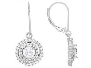 Cubic Zirconia Rhodium Over Sterling Silver Earrings 3.32ctw