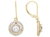 Cubic Zirconia 18k Yellow Gold Over Silver Earrings 3.32ctw