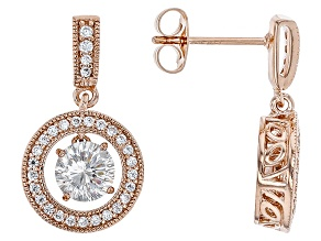 Cubic Zirconia 18k Rose Gold Over Silver Earrings 2.74ctw