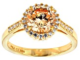 Brown Cubic Zirconia 18k Yellow Gold Over Silver Ring 3.86ctw