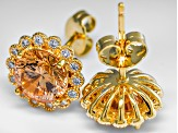 Brown and White Cubic zirconia 18k yellow gold over silver earrings 4.70ctw