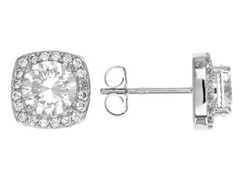 Cubic Zirconia Rhodium Over Sterling Silver Earrings 4.02ctw