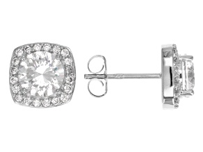 Cubic Zirconia Sterling Silver Earrings 4.02ctw