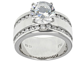 Cubic Zirconia Sterling Silver Ring 6.48ctw