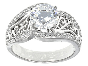 Cubic Zirconia Sterling Silver Ring 4.04ctw
