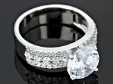 Cubic Zirconia Rhodium Over Sterling Silver Ring 5.70ctw