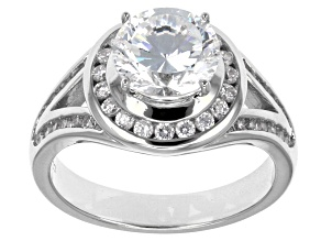 Cubic Zirconia Sterling Silver Ring 4.24ctw