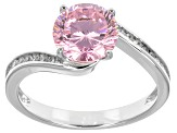 Pink And White Cubic Zirconia Sterling Silver Ring With Guard 4.33ctw