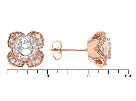Cubic Zirconia 18k Rose Gold Over Sterling Silver Earrings 7.30ctw