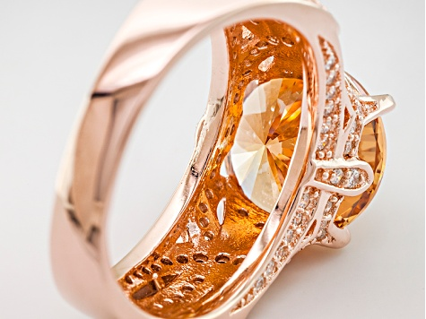 Champagne And White Cubic Zirconia 18k Rose Gold Over Silver Ring
