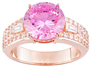 Pink And White Cubic Zirconia 18k Rose Gold Over Silver Ring 7.31ctw