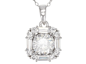 Cubic Zirconia Sterling Silver Pendant With Chain 3.20ctw