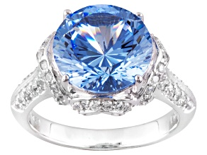 Blue And White Cubic Zirconia Sterling Silver Ring 6.35ctw
