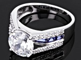 Blue And White Cubic Zirconia Sterling Silver Ring 6.34ctw
