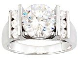 White Cubic Zirconia Sterling Silver Ring 5.23ctw
