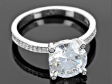 White Cubic Zirconia Rhodium Over Sterling Silver Ring 4.94ctw