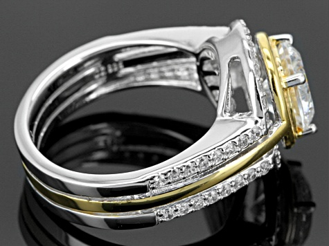 White Cubic Zirconia Two-Tone Ring 3.99ctw