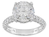 Cubic Zirconia Rhodium Over Sterling Silver Ring 6.01ctw