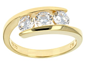 Cubic Zirconia 18k Yellow Gold Over Sterling Silver Ring 1.75ctw