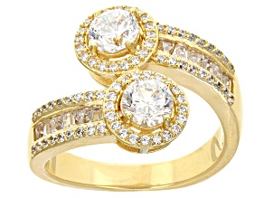 Cubic Zirconia 18k Yellow Gold Over Sterling Silver Ring 2.49ctw
