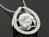 Cubic Zirconia Rhodium Over Sterling Silver Pendant With Chain 2.71ctw