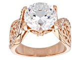 Cubic Zirconia 18k Rose Gold Over Sterling Silver Ring 6.50ctw