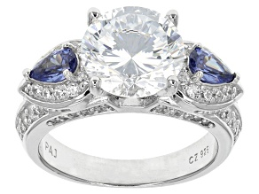 Blue And White Cubic Zirconia Sterling Silver Ring 6.03ctw